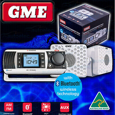 Gme Am/fm Marine Boat Radio Entertainment Pack White + Speakers New Gr300 Btwep
