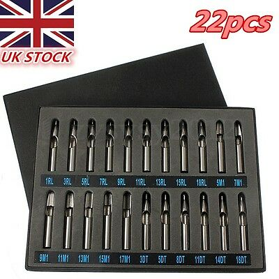 22X Stainless Steel Tattoo Nozzle Tips Needles Machine Gun Tube Grip Box Set UK