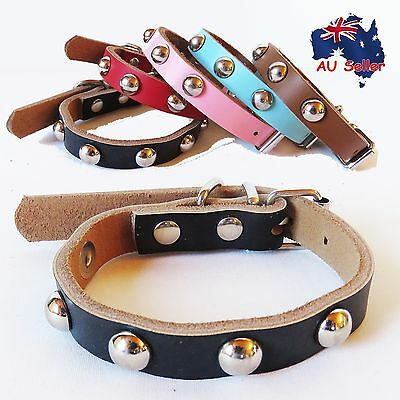 Genuine Real Leather Pet Dog Collar Round Studs Suede Blue Black Brown Pink Red