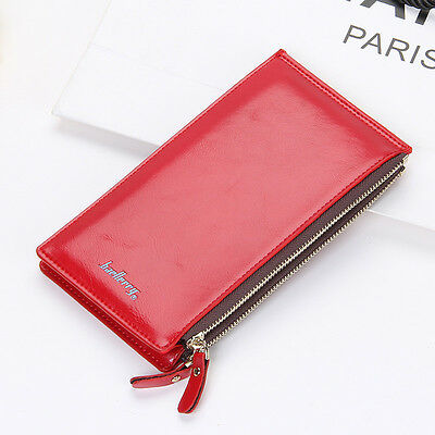 Fashion Women Leather Card Holder Double Zipper Wallet Money Coin Purse Red US