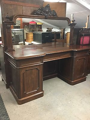 Large Antique Victorian Mahogany Mirror Backed Sideboard / Buffet