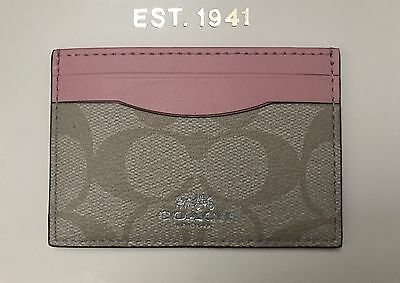 New Coach Signature PVC Card Case Credit Card Holder Mini Wallet 63279 Blush
