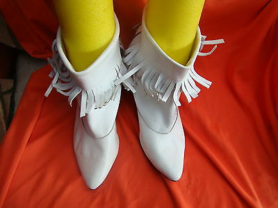 ladies size7.5 white leather ankle boots 7cm heel vgc