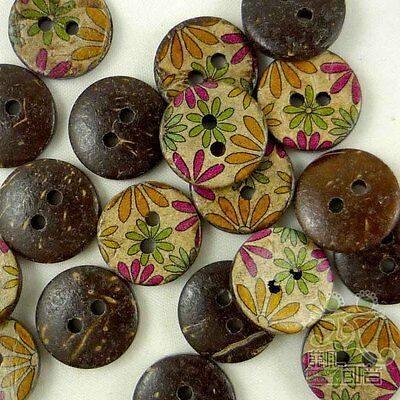 20/100pcs Colorful Flower Coconut Round Buttons 15MM Craft/Kids Sewing Scrapbook