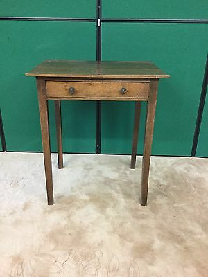 Antique Oak Side / Lamp Table With Drawer Under