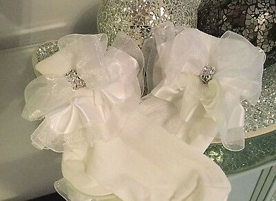 🎀 Organza Chiffon Tutu Frilly Ankle Socks Diamante Bows Jazziejems Boutique❤️