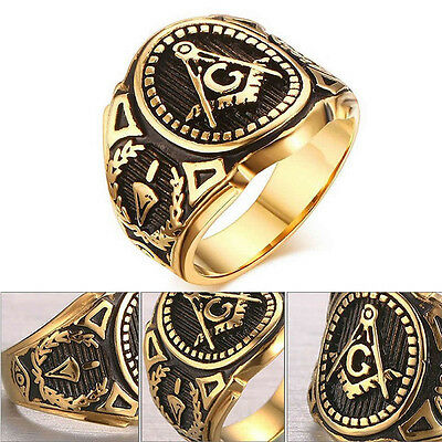 Men Accessories Punk Band Masonic Ring Freemasons Stainless Steel Rings New