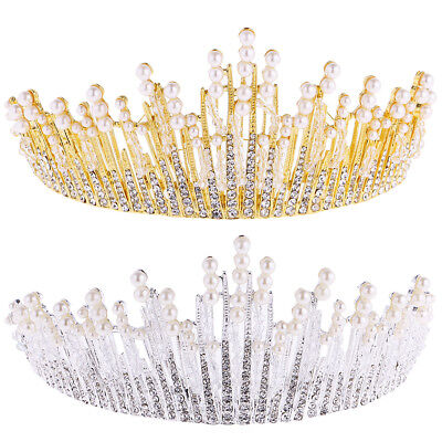 Bridal Wedding Crystal Flower Tiara Crown Pearl Rhinestone Hair Headband