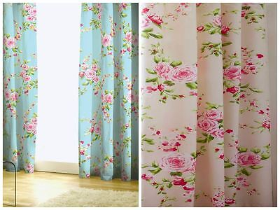 "Canterbury Curtains Red Blue Floral Rose Design 66"" 72"" Pencil Pleat Ready Made"