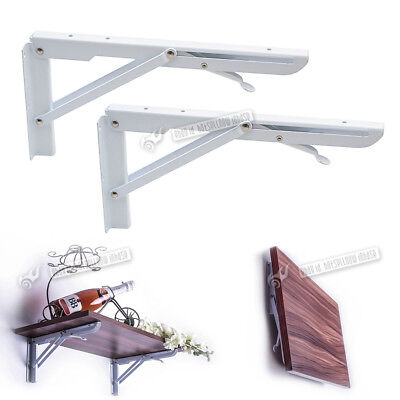 2X White Foldable Metal Triangle Angle Bracket White Wall Mounted Support Shelf