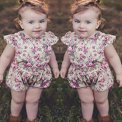 Newborn Baby Girl Floral Cotton Bodysuit Romper Jumpsuit Clothes Outfits Sunsuit