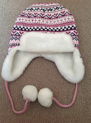 Girls Beanie Knitted Fur Lining 4-6 Years Old