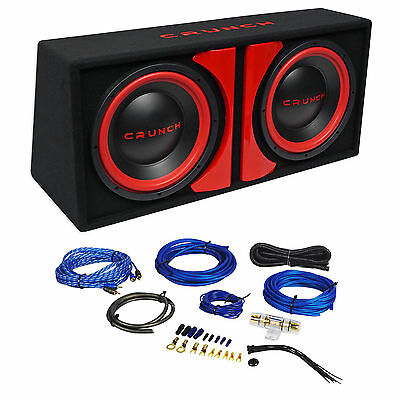 """Crunch CR-212A 1000w Dual 12"""" Powered Loaded Subwoofers In Enclosure + Wire Kit"""