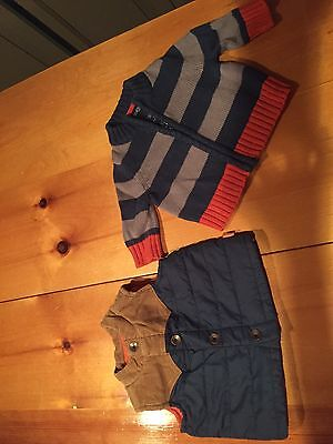 Genuine Baby From Osh Kosh Puffer Vest And Zip Up Sweater, Baby Boy, 3 Months