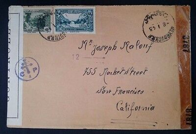 SCARCE 1943 Lebanon Censor Cover ties 2 stamps canc Beyrouth to USA