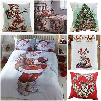 Christmas Xmas Theme Duvet Quilt Cover Bedding Sets OR Cushion Covers OR Throw