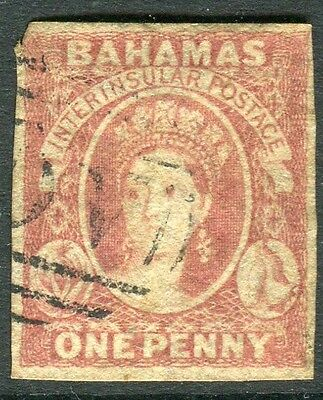 BAHAMAS-1859-60 1d Reddish Lake A fine used 3 margin example Sg 1