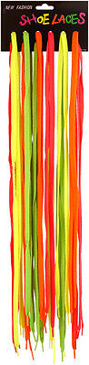 Neon Green,orange,yellow,pink Shoe Laces 90Cms Rave Party 80's