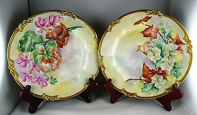 Pair of GDA Limoges Hand Painted Artist Signed Floral & Gold Plates Signed