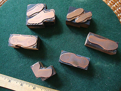 Six antique copper printing plates of golf shoes