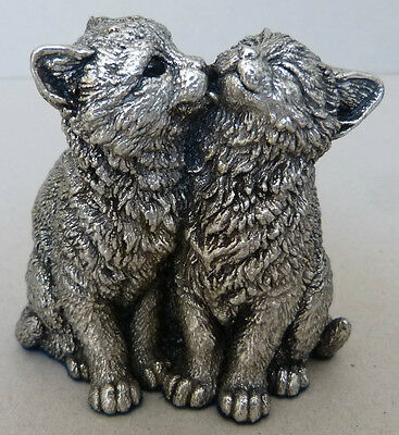 Country Artists KITTENS LICKING Hallmarked Sterling Silver Cat Sculpture -(3141)