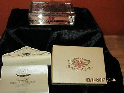 Vintage, Mirrored, Chain Hinged, Hand Painted Stained glass Jewel case W/Box