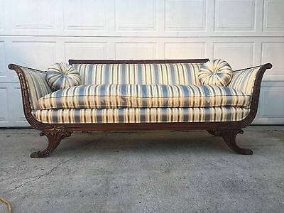 American Empire Carved mahogany Sofa Brass Capped Feet. Duncan Phyfe-style