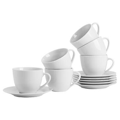 White Cappucino Coffee Tea Cups & Saucers Porcelain Set - 320ml (11oz) - x6