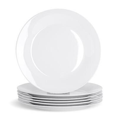 White Dinner Wide Rimmed Plates. Porcelain Tableware Crockery - 267mm - x6