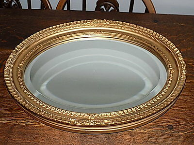 Vintage~Oval~Beveled~Wooden Framed Mirror~Gold~ Wall Mirror