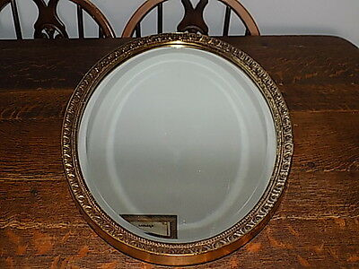 Vintage~Oval~Beveled Glass~Wooden Framed Mirror~Gold~ Wall Mirror