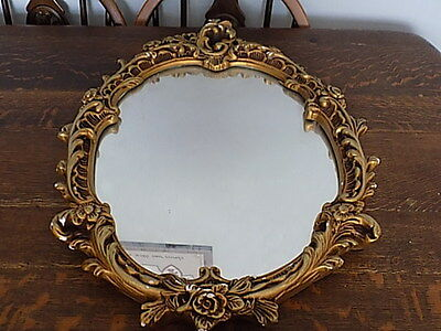 Vintage~Oval~Beveled Glass~Wood & Plaster Framed Mirror~Gold~ Wall Mirror