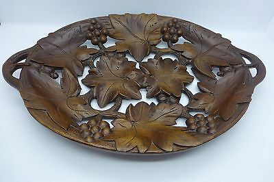 Vintage Black Forest Hand Carved Wooden Tray.