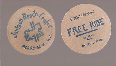 2ea Vintage Jantzen Beach Center GF Free Ride Merry Go Round Token Wooden Nickel