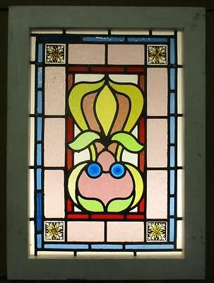 "VICTORIAN ENGLISH LEADED STAINED GLASS WINDOW Colorful abstract 17.5"" x 24"""