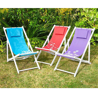 Traditional Wooden Folding Deck Chair with Cushion Camping Garden Beach
