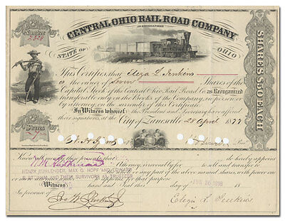 Central Ohio Rail Road Company Stock Certificate (1877)