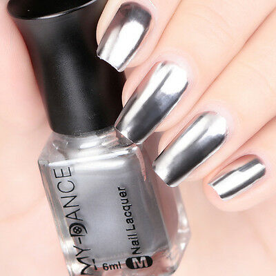 Mirror Effect Chrome Metallic Silver Nail Art Varnish Polish Base