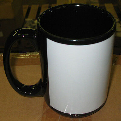 Box Of 36 - 15 oz. Black Mugs With White Patch For Sublimation Printing   21531