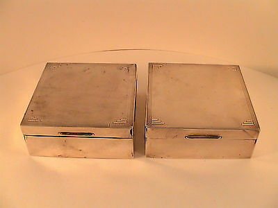 Pair Of Art Deco Hallmarked Solid Silver Cigarette Boxes
