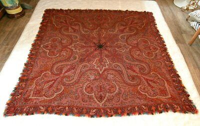 STUNNING c1850 Kashmir All Hand Embroidered Paisley Shawl EXCELLENT No Repairs