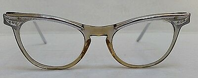 Vintage CAT  EYE GLASSES--Pathway--Rhinestones & Etched Metal--Plastic Frames