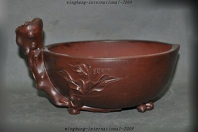 "10""old Chinese yixing zisha pottery Carved Peach Bonsai Potted plants flower pot"