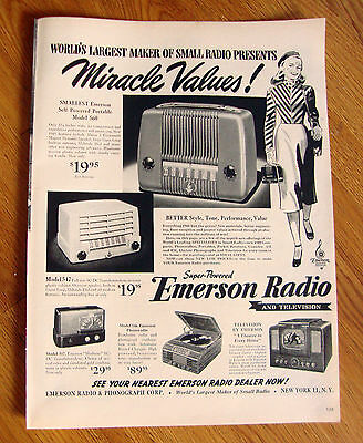 1947 Emerson Radios TV Ad  Largest Maker of Small Radios Shoes 5 Models