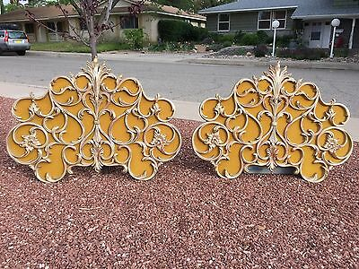 1950's BAKER Hollywood Regency Glam Rococo Bed Headboard King / Queen or 2 Twin