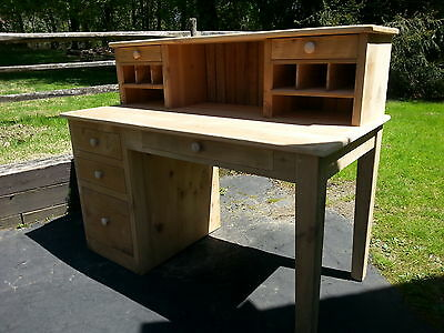 Antique Amish Built Handmade Unfinished Reclaimed Barn Wood Desk,hutch,file Drws