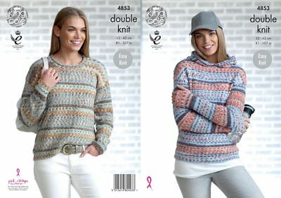 King Cole 4853 Knitting Pattern Womens Sweater and Hoodie King Cole Drifter DK
