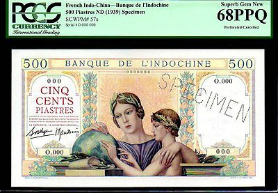 "FRENCH INDO CHINA P57s ""THE GLOBE- SPECIMEN"" 500 PIASTRES PCGS 68PPQ"