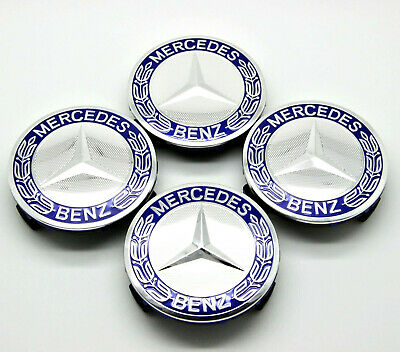 WHEEL CENTER CAPS BLUE RIM HUBCAPS MB MERCEDES-BENZ EMBLEM 4PCS 75mm C/E/S/CLS