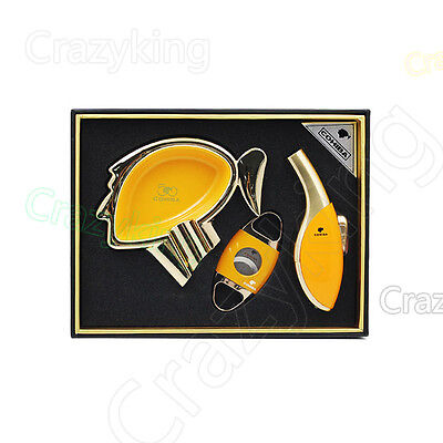 COHIBA Luxury Automotive Paint  Cigar Lighter Cutter Ashtray Yellow Gift Set New